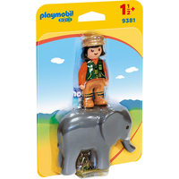 Playmobil 9381 1.2.3 Zookeeper and Elephant