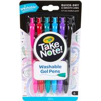 Crayola Take Note 6 Pack Washable Gel Pens - Crayola Gifts