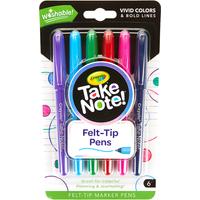 Crayola Take Note 6 Pack Felt Tip Washable Marker Pens - Crayola Gifts