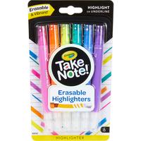 Crayola Take Note 6 Pack Erasable Highlighters - Crayola Gifts