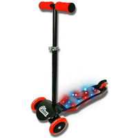 Ozbozz 3 Wheel Light Burst Light Up Scooter - Black and Red - Scooter Gifts