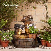 Cascading Barrel Water Feature And Planter
