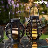 Garden Gear Flickering Candle Rattan Solar Lantern