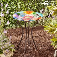 Garden Gear 18-Inch Glass Birdbath with Stand
