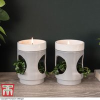 Two-Tone Gray Candle Planter