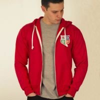 British and Irish Lions 1970s Vintage Rugby Zipped Hoodie Red