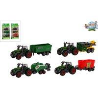 Tractor Met Aanhanger Diecast 3 Delig 2 Assorti 8  Cm