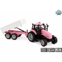 Tractor Met Aanhanger Diecast Roze Licht En Geluid