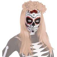 Máscara Calavera Katrina Rosas Rojas Día de los Muertos