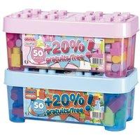 Barril de 60 piezas de construcción rosa o azul