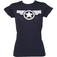 Women's Navy Steve Rogers Super Soldier Captain America Uniform Marvel T-Shirt - Marvel Gifts