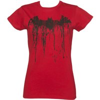 Women's Red Batman Graffiti Logo Fitted T-Shirt - Batman Gifts