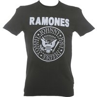 Men's Classic Charcoal Ramones Logo T-Shirt from Amplified - Ramones Gifts
