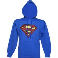 Blue Distressed Superman Logo Hoodie - Blue Gifts