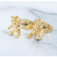 14kt Gold Plated Winnie The Pooh Stud Earrings - Disney Jewellery Gifts