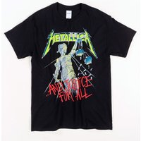 Black Metallica Justice For All T-Shirt with Back Print - Metallica Gifts