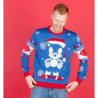 Blue Sonic The Hedgehog Knitted Christmas Jumper - Sonic Gifts