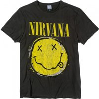 Charcoal Nirvana Distressed Smiley T-Shirt from Amplified - Nirvana Gifts