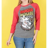 Danger Mouse Ready For Action Grey and Red Raglan Baseball T-Shirt - Baseball Gifts
