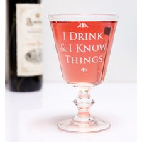 Game Of Thrones I Drink And I Know Things Boxed Wine Glass - Wine Glass Gifts