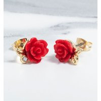 Gold Plated Beauty & The Beast Enchanted Rose Stud Earrings - Disney Jewellery Gifts