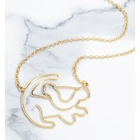 Gold Plated Simba Outline Lion King Necklace - Disney Jewellery Gifts