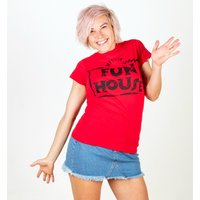 Women's Red Team Fun House Logo Fitted T-Shirt - Fun Gifts