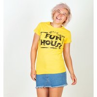 Women's Yellow Team Fun House Logo Fitted T-Shirt - Fun Gifts