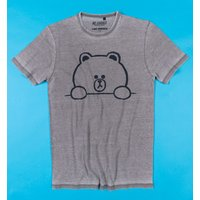 Line Friends Brown Outline Vintage Grey T-Shirt from Recovered - Truffleshuffle Gifts