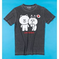 Line Friends Brown and Cony Vintage Charcoal T-Shirt from Recovered - Brown Gifts