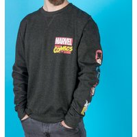 Marvel Comics Superheroes Black Sweater With Sleeve Prints - Sweater Gifts