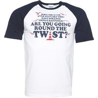 Men's Are You Going Round The Twist White And Navy Raglan Baseball T-Shirt - Baseball Gifts