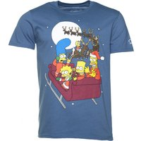 Men's Blue The Simpsons Sleigh Ride T-Shirt - The Simpsons Gifts