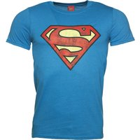 Men's Bright Blue Distressed Superman Logo T-Shirt - Superman Gifts
