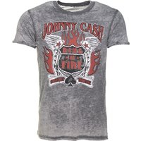 Men's Charcoal Burn Out Johnny Cash Ring Of Fire T-Shirt - Johnny Cash Gifts