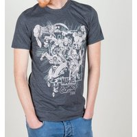 Men's Dark Grey Marl Marvel Comics Band Of Heroes T-Shirt - Marvel Gifts