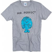 Men's Heather Grey Mr Perfect Mr Men T-Shirt - Mr Perfect Gifts