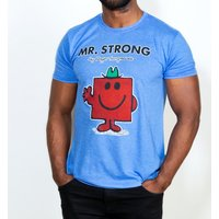 Men's Blue Marl Mr Strong Mr Men T-Shirt - Mr Strong Gifts