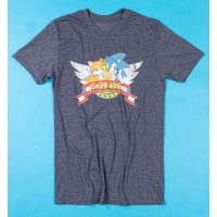 Men's Navy Marl Sonic and Tails T-Shirt - Sonic Gifts