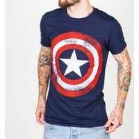 Men's Navy Marvel Distressed Captain America Shield Logo T-Shirt - Tshirt Gifts