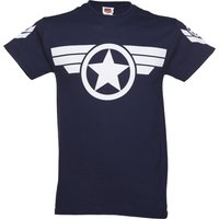 Men's Navy Steve Rogers Super Soldier Captain America Uniform Marvel T Shirt - Marvel Gifts