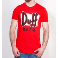 Men's Red Simpsons Duff Beer T-Shirt - The Simpsons Gifts