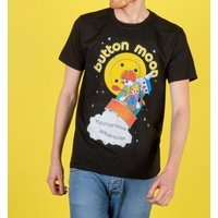 Men's Retro Button Moon Black T-Shirt - Truffleshuffle Gifts