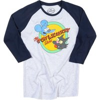 The Simpsons Itchy and Scratchy Grey and Navy Baseball T-Shirt - The Simpsons Gifts