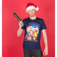 Men's Wallace And Gromit Christmas Presents Navy T-Shirt - Presents Gifts