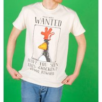 Men's Wallace And Gromit Feathers McGraw Wanted Poster Ecru T-Shirt - Tshirt Gifts