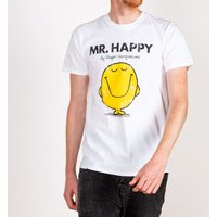 Men's White Mr Happy Mr Men T-Shirt - Mr Men Gifts