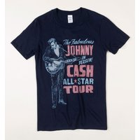 Navy Johnny Cash On Tour T-Shirt with Back Print - Johnny Cash Gifts