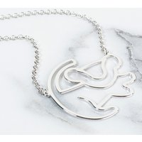 Platinum Plated Simba Outline Lion King Necklace - Disney Jewellery Gifts
