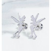 Platinum Plated Tinker Bell Silhouette Stud Earrings - Disney Jewellery Gifts